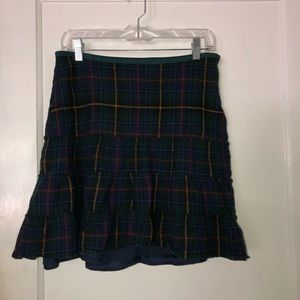 Green and navy plaid skirt